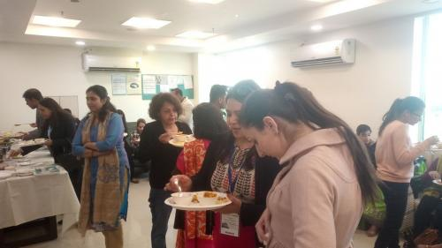 Participants enjoying their lunch at the Doctor's lounge at Max Hospital, Gurgaon